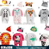 2016 New Cute baby cartoon animal cotton jumpsuits breathable toddler kids rompers with cap handsome baby clothing