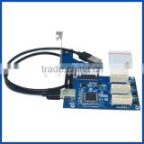 PCIe x1 to external Test Kit 3 port PCIe x1 female solt riser conveter adapter card