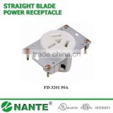 American Type Wall Socket Straight Blade Power Receptacle and Plug with UL Approval FD-3201, FD-3205, FD-3714