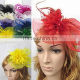 Red Fashion Hat Flower Statement Hair Clasp for Christmas Party