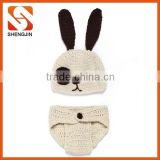 SJ-6307 Cute rabbit beige crochet set handmade crochet baby set clothing newborn baby gift set