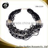 Bead necklace for 2015 handmade jewelry plated in gold with pink & black beads accessories for jewelry china manufacturer