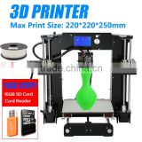 Big printing size 220*220*250MM desktop FDM 3D printer Reprap prusa i3 DIY kit with 3dprinter Filament 16GB SD card Card reader