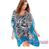 2016 Contrast Border Trim Zebra Tunic swim suit beach cover up