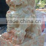 Chinese lion dance statue white marble hand carved for home garden hotel restaurant from Vietnam No 05