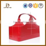 Customized leather magnetic storage baskets for wine bottle/magazine storage /for shopping