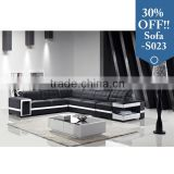 black cheap adjustable backrest sectional leather sofa set with storage and drawer