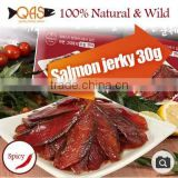 Salmon jerky 30g100% Natural Wild/spicy/Omega-3/Smoked with beech treeSalmon jerky 30g100% Natural Wild Smoked Dried salmon snac