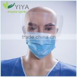 Disposable nonwoven Face mask with plastic eye shield