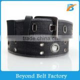 Men's Cotton Washed Web Belt with Double Grommets and Alloy Pin Buckle