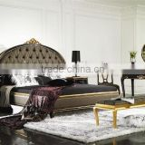 Manufacturer direct supplier European Italian style bedroom furniture set Bed Bedside table Dressing table Bench