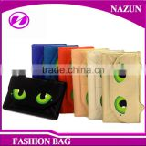 red fancy cat face green eyes shape designer cartoon lady beautiful wallets with magnet snap closure