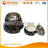 "Chi-buy Black cartoon girl Detachable Dual Melamine Pet Bowl antiskid Dog food water Bowl,S Size:3.93""LX5.51""WX1.77""H"