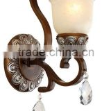 wholesale glass lamp shade high quality wall lamp with K9 crystal decor iron metal wall lamp