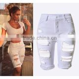 2016 Summer Fashion Women Cool Stylish Jeans Half Pant Design Ladies Knee-Length White High Waist Ripped Jean Pants