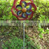 Wholesale metal Wind Spinner Kinetic Stake - Kaleidoscope /varicoloured 12 inch metal windmill for garden & outdoor decoration