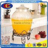 Glass Beverage Dispenser glass water bottle with iron stand glass lid