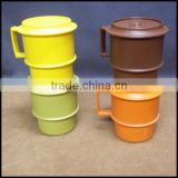 Vintage Harvest plastic MUG Coffee Cup Set with Lid,custom plastic coffee mug cups,custom plastic tea cup drinking for sale