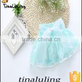 new arrival light blue girls petti skirt girls tutu skirt children short skirts with flower