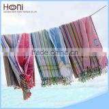 Cotton beach kikoy pareo towel with tassel