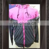 Custom Fashionable your own Logo Printing Unisex Pink and Black zip up windbreaker jacket