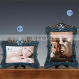 dark blue enamel diamond high end metal personal photo frames vitange fashion framed photo rahmen