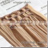 Factory price fashional virgin cheap brazilian human hair clip hair extension