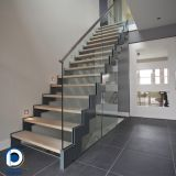 Residential indoor stairs used metal staircase double plate wood step staircase design