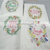 100% cotton garland embroidery Dish Towel