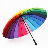 Wind-proof  24 Ribs Straight Long handle Rainbow Umbrella for 2 or 3 People