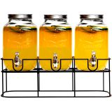 3PC YORKSHIRE GLASS BEVERAGE DISPENSER WITH BLACK RACK