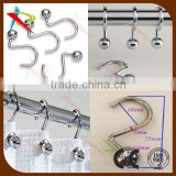 Iron CHROME Finish Rings S Ball Hook Shower Curtain Hooks
