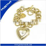 Heart Shape Metal Chain Pocket Watch with Gold Planting