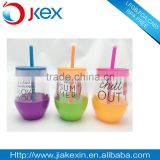 PVC paper insert double wall pot-bellied cup beach cup for juice