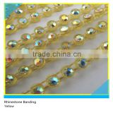 Plastic Cup Chain Sew on Ss6 2mm AB Crystal Yellow Banding 1x200 Pcs 10 Yards