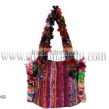 Bridal collection purse cross body hippie banjara bags stylish pink color hobo bags in cotton fabric
