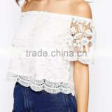 New Sexy Off the Shoulder Lace plain crop tops wholesale For Women Short Hollow Out Crochet Top