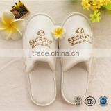 Guestroom and home terry towelling slipper closed toe with gold embroidary printing bathroom slippers