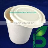 100% eco-friendly sugarcane bagasse pulp cup with Lid