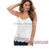 2016 White Scalloped custom blank Lace Tank halter crop top women
