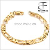 18K Gold Plated Men's Bracelet Figaro Hand Chain Link Gold Polished bracelet for men                                                                         Quality Choice