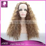 Long kinky straight heat resistant party synthetic hair wig full machine made wig in stock