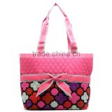 2016 wholesale quilted bag cotton duffle bag diaper bags/ cotton shopping tote bag/ Quilted Print Diaper Tote