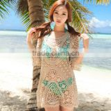 Women Bikini Cover Up Hollow Crochet Beach Dress Top Blouse                                                                         Quality Choice