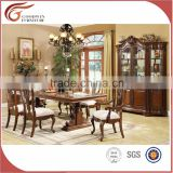 WA161 Antique Wooden Dining Room Furniture 6 Person Marble Wooden Top Table