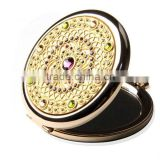 hot selling retro vintage small cosmetic bag mirror /mini round golden pocket mirror of gifts for women