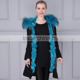 Black newest real fox fur parka for women brand military winter parka                                                                                                         Supplier's Choice