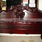 Finished Furniture - Antique Reproduction Rococo Bed with Red Mahogany color