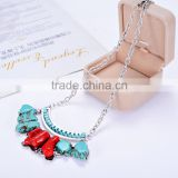 Best selling high quality 2016 fashion lady women's Turquoise necklace alloy sweater chain