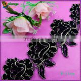 China manufacturer High quality Embroidered Chemical swiss Black cotton lace trim for garment